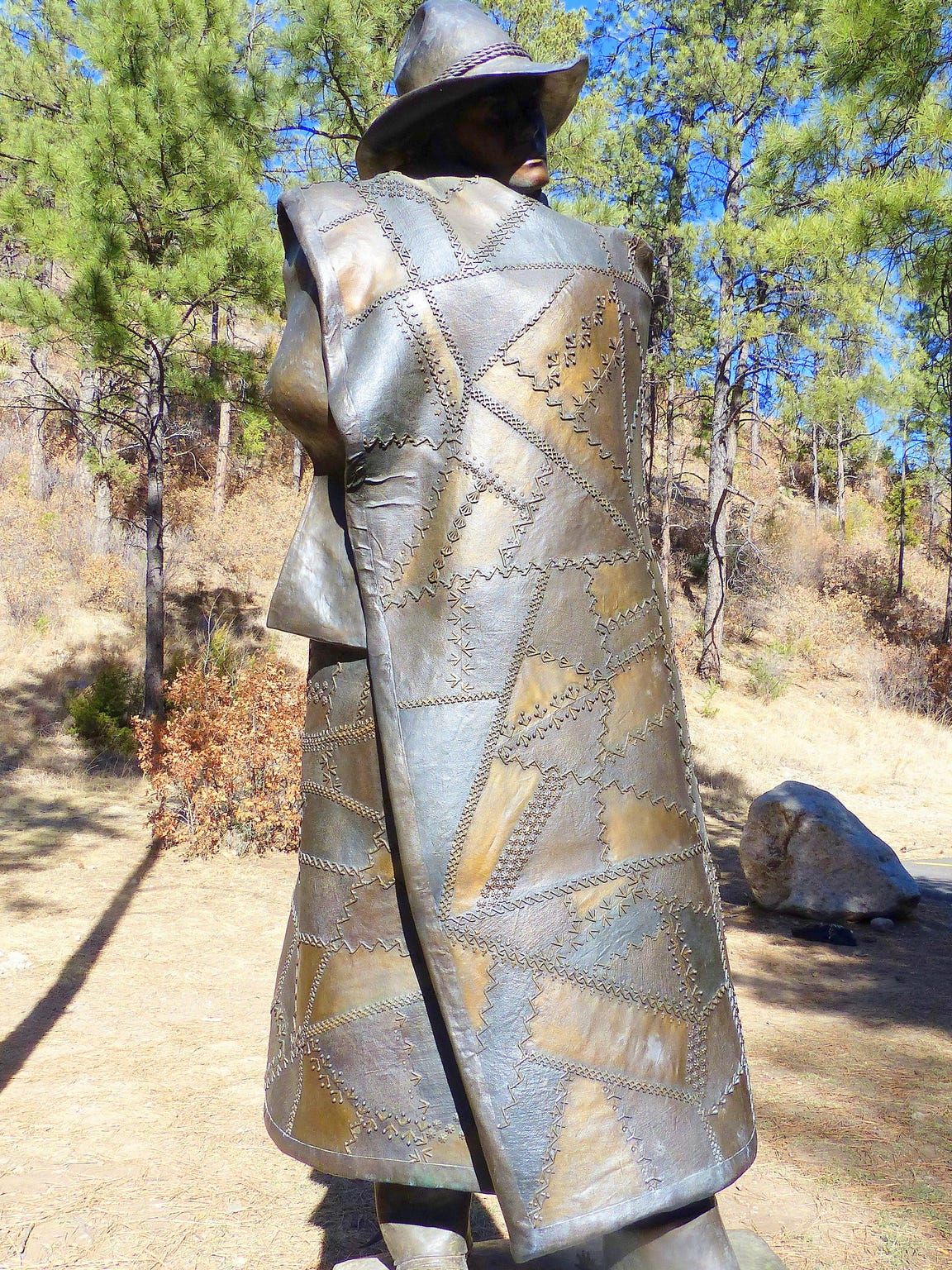 """Snidow donated his """"Crazy Quilt"""" bronze, which is displayed"""