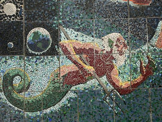 "Neptune is depicted on Hank Blass's ""The Progress of Man"" mosaic."