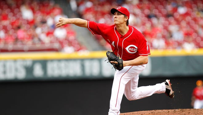 Reds starter Homer Bailey pitches during the second inning against the Phillies at Great American Ball Park.