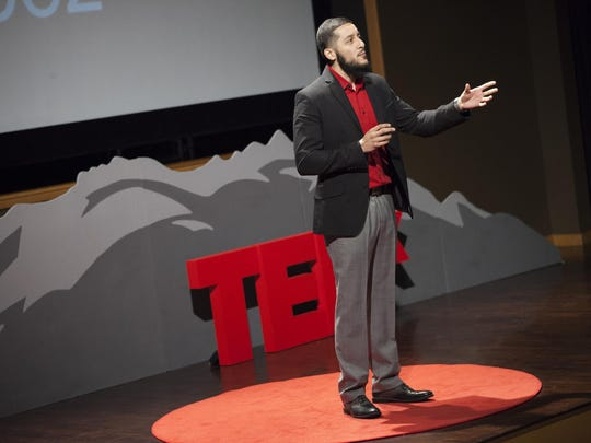 University of Nevada, Reno Student Speaker Competition Winner, Juan Lopez, communicates his personal challenges with stuttering at the January 2015 TEDxUniversityofNevada event. The University's TEDx event is moving to the Pioneer Center, allowing for a much larger audience.