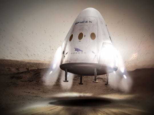 "Concept image of an unmanned SpaceX ""Red Dragon"" spacecraft"