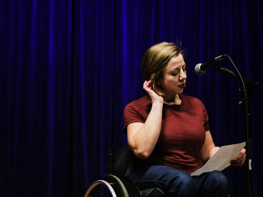 """Isabella Mansfield recites a poem called """"It's Complicated"""" at an open mic night at the Poetry Room at the Robin Theatre on February 27th, 2018."""