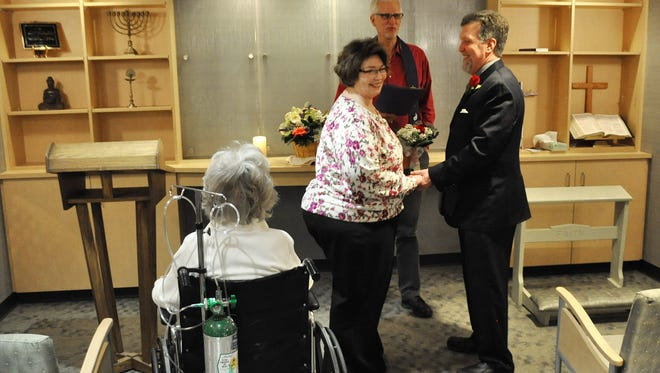 Sherri Hawkins and Mike Chaffee wed at McLaren Greater Lansing so that Hawkins' mother, Mary Lou Hawkins, could attend.