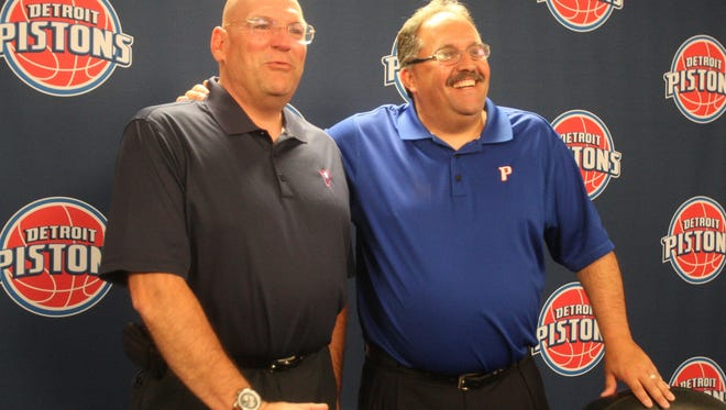 Pistons coach and president of basketball operations Stan Van Gundy, right, and general manager Jeff Bower.