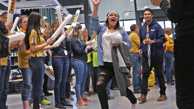 Shoppers enter after the doors open at the IKEA Fishers grand opening, Wednesday, Oct. 11, 2017.