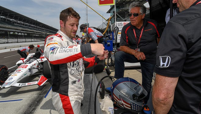 Andretti Herta Autosport with Curb-Agajanian IndyCar driver Marco Andretti (98) during practice for the Indianapolis 500 at the Indianapolis Motor Speedway on Wednesday, May 16, 2018.