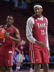 Troy forward DeVon Walker (25) during practice for the NCAA Tournament at Bon Secours Wellness Arena in downtown Greenville on Thursday, March 16, 2017.