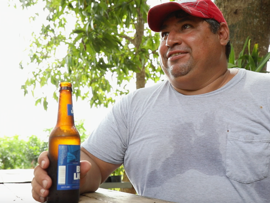 Ricardo Velasco Parada takes a beer break Saturday