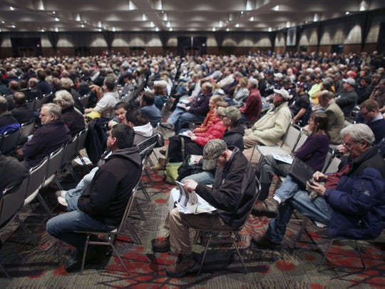 People attend a public hearing Jan. 16, 2016, at the Duluth Entertainment and Convention Center about the proposed PolyMet mine.