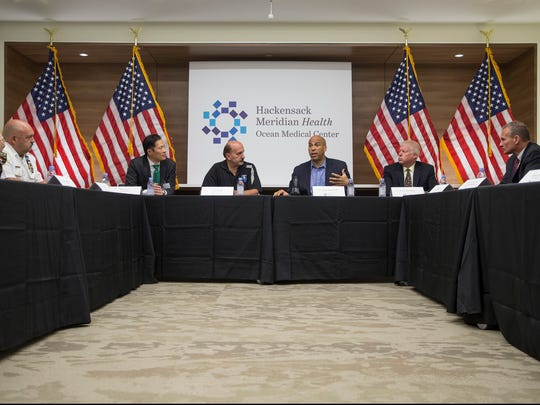 Sen. Cory Booker (D-NJ) attends a roundtable discussion at Ocean Medical Center with Ocean County Prosecutor Joe Coronato, the DEA and health care professionals to discuss the opioid crisis. Brick, NJSaturday, July 29, 2017@dhoodhood