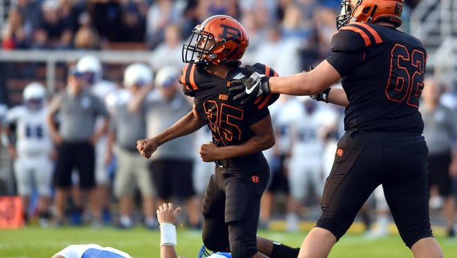 Ridgewood freshman Deontae Brandon reacts after a quarterback sack during the first quarter of the Generals' season-opening win against Buckeye Trail.
