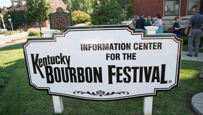 An information sign outside the Bardstown courthouse for the annual Kentucky Bourbon Festival. Sept. 14, 2016
