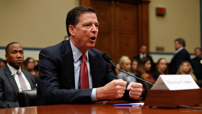 In this Sept. 28, 2016, file photo, FBI Director James Comey testifies on Capitol Hill.