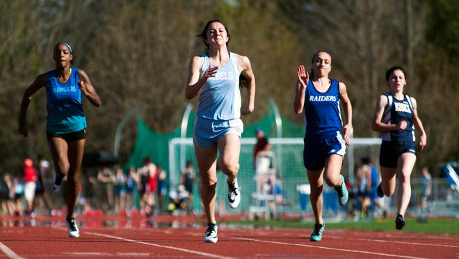 South Burlington's Kayla Gilding competes in the 400 meter dash during the Burlington Invitational at Burlington High School on Saturday afternoon.