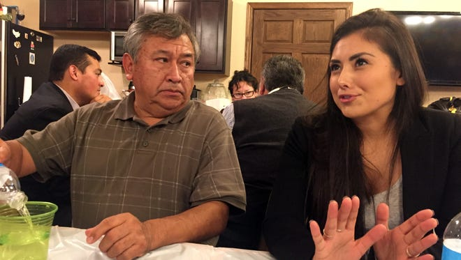 Jose Zacarias of West Liberty, left, and Maria Mayorga of Des Moines participate in the Latino Political Network's workshop on Saturday, Oct. 24, at the home of Amb. Carlos Portes in Marshalltown.