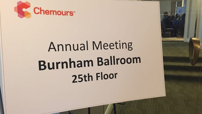 The sign from Chemours' 2016 annual meeting.