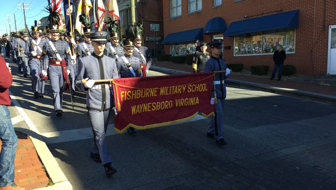 Cadets from Fishbrune Military School march through downtown Staunton on Saturday for the town's annual Veteran's Day Parade.