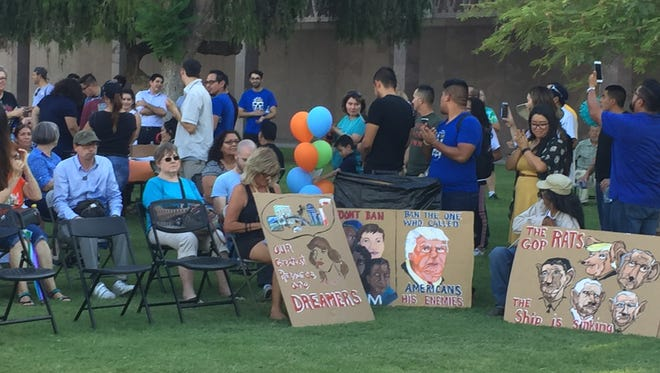 """""""Dreamers"""" and their family members gather Aug. 15, 2017, at the Arizona Capitol, calling to protect DACA."""