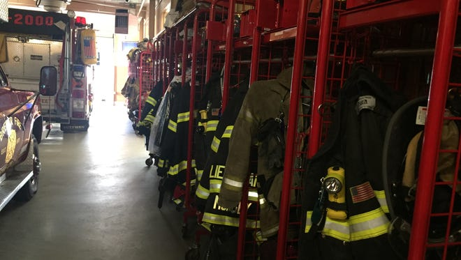 Turnout gear and equipment stands ready for Monsey firefighters to don for fire calls.