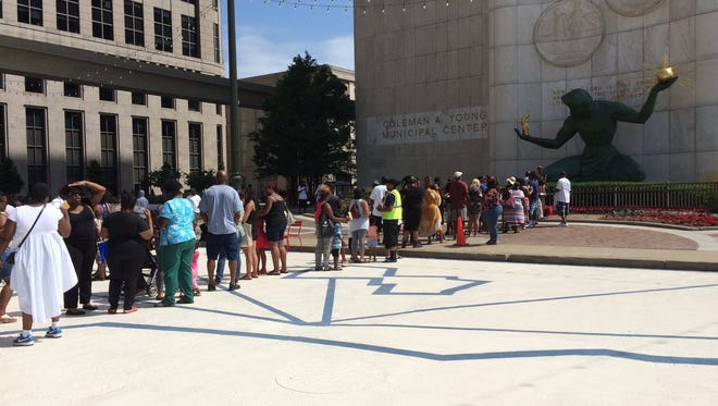 Hundreds attended a petition drive held at the Coleman A. Young Municipal Center organized by Detroit Free Housing Porgram.