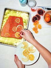 Slow Salmon with Citrus and Herb Salad, with wild salmon,