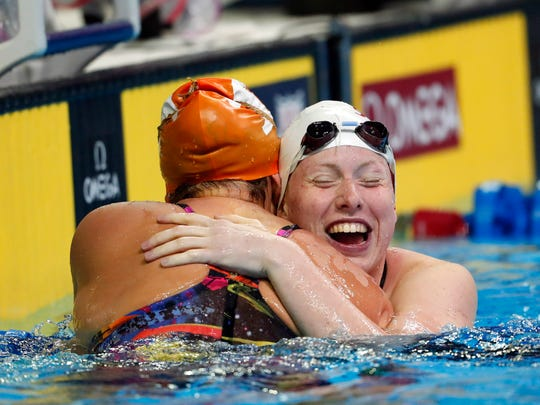 Molly Hannis (left) and Lilly King react after the women's 200 meter breaststroke final in the U.S. Olympic swimming team trials at CenturyLink Center.