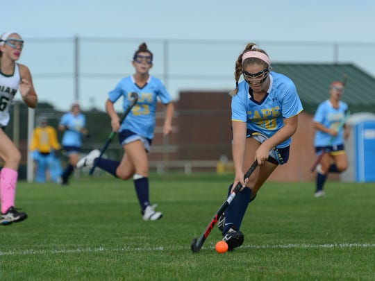 Cape Henlopen's Cameron Smith brings the ball up the field against Indian River on Tuesday, Oct. 10, 2017. Cape Henlopen won 5-0.
