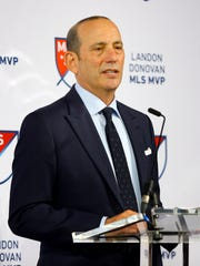 Dec 6, 2016; New York, NY, USA; MLS commissioner Don Garber addresses the media and guests during the MLS MVP press conference at Spring Studios.