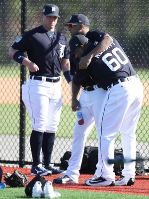 Detroit Tigers pitcher Francisco Rodriguez and Angel Nesbitt, right, at Tigers Spring Training on Thursday, Feb. 16, 2017 at Publix Field at Joker Marchant Stadium in Lakeland, Fla.