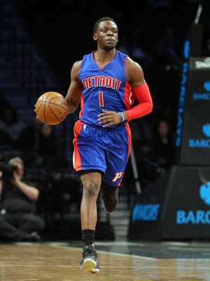 Pistons point guard Reggie Jackson (1) controls the ball during the first quarter Tuesday in Brooklyn, N.Y.
