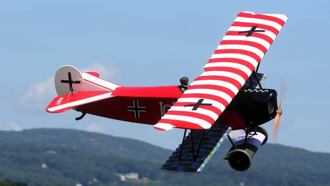 A model World War I Fokker D7 airplane is piloted by Dan Landis, originally from New City, now living in Champagne, Ill. during the 7th annual Town of Haverstraw Air Show at the Haverstraw Model Aerodrome Aug. 20, 2016. Dozens of spectators watched as thirty pilots flew dozens of model planes and helicopters. Those attending also had the opportunity to try their hands at flying a model airplane.