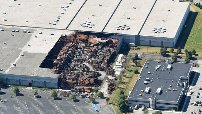An aerial photo of the fire-ridden Gap distribution center in Fishkil is seen in this Sept. 22 photo.