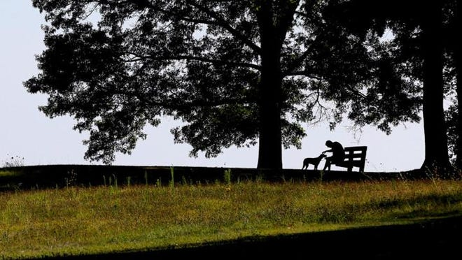 A man and his dog rest in the shade on a bench at Firestone Metro Park.  At 7 p.m. Thursday, Akron Metro Parks Hiking Club will hold a 5-mile hike in the park at 2620 Harrington Road.