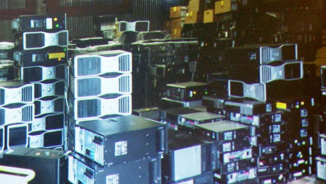 The donated computers from Sandia Labs after being unloaded in Silver City.