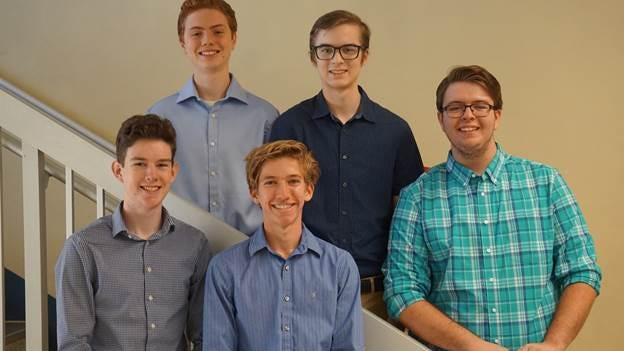Vanguard High's National Merit Scholarship Program semifinalists are: (front row, from left to right) Alexander Phipps and Harrison Knight; (back row, from left to right) Conrad Hellwege IV, Graham Cope and Jordan Davidsen.