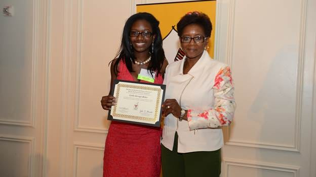 Lydia George-Koku, a senior at Cherry Hill High-East in Camden County, accepted a certificate of achievement from McDonald's Owner/Operator Anna Ford-Keels at an awards celebration held on June 16 at the Hyatt at The Bellevue in Philadelphia.