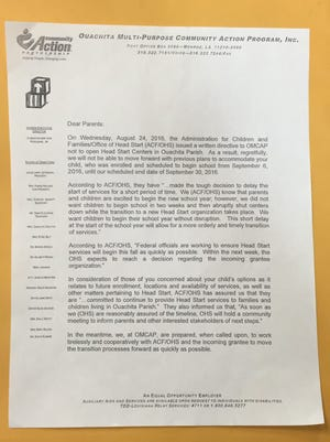 Ouachita Multipurpose Community Action Program sent a letter to parents stating it will not accept students on Sept. 6 because of a written directive from the Office of Head Start.