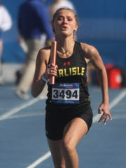 Carlisle's Tristine Viers competes in the 800-meter sprint medley April 26 at the Drake Relays.