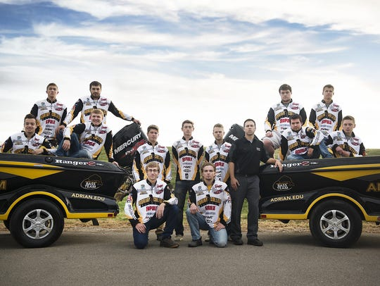 The Adrian College bass fishing team, ranked No. 1