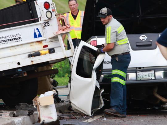 First responders work a fatal multiple vehicle accident where three people three individuals died on Saturday, June 9, 2018.