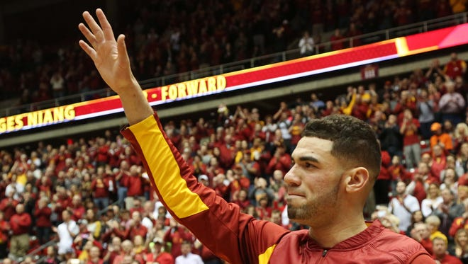 Iowa State's Georges Niang waves to the crowd on senior night before Iowa State's final home game of the season against Oklahoma State on Monday, Feb. 29, 2016, in Hilton Coliseum.