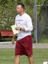 Elmira boys soccer coach Derek Hamilton during the
