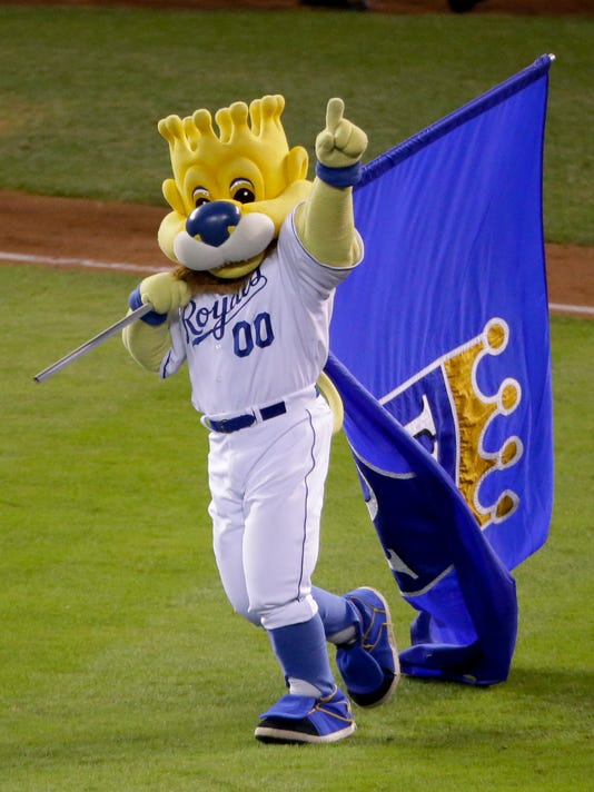 The Kansas City Royals mascot celebrates their 10-0 win against the San Francisco Giants in Game 6 of baseball's World Series Tuesday, Oct. 28, 2014, in Kansas City, Mo. (AP Photo/Charlie Riedel)