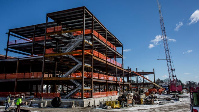A worker was injured after falling from a stepladder at the McLaren Port Huron construction site.