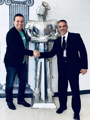 Andrew Chaifetz (left), who founded Notebowl, with J. Scott Cascone, executive director of academics for the Old Bridge Public School District.