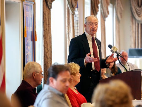 U.S. Sen. Chuck Grassley, R-Iowa, speaks during a meeting of The Rotary Club of Dubuque at Dubuque Golf & Country Club in Dubuque, Iowa, on Tuesday, May 1, 2018