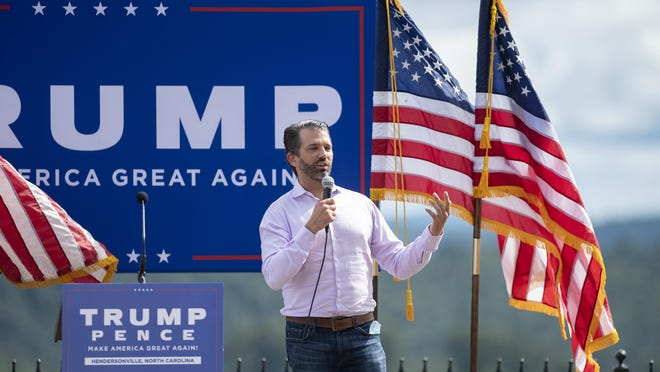 President Donald Trump's son, Donald Trump Jr. speaks at a campaign event for his father at Point Lookout Vineyards in Hendersonville on Sept. 10, 2020.