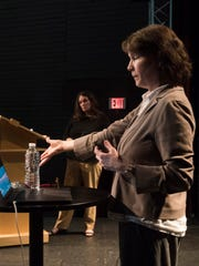 Emily Talen, a University of Chicago professor of urbanism, answers question from the audience during the CivicCon lecture series Wednesday, May 9, 2018.