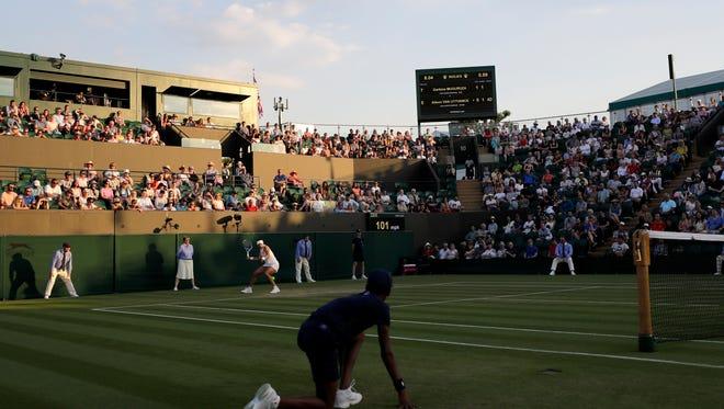 Tournament play at Wimbledon continues on Monday.