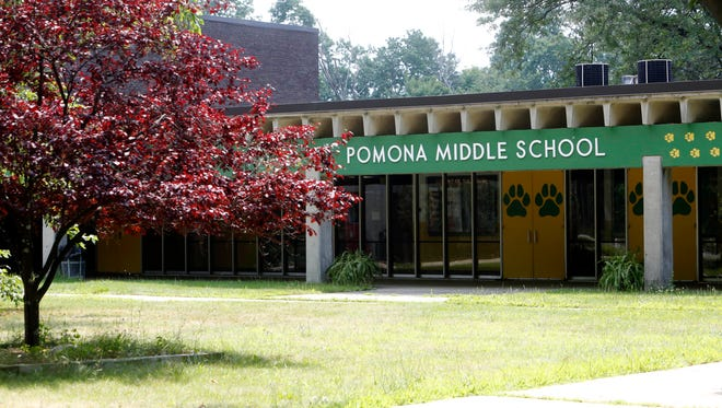 The exterior of Pomona Middle School is photographed July 23, 2014 in Suffern.